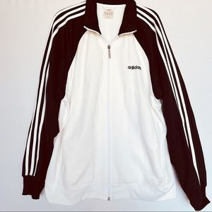 Vintage Adidas White Zip Up Track Jacket Y2K